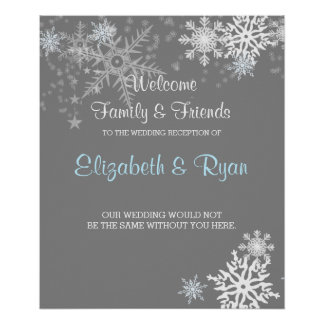 Winter, Snowflakes, Custom Wedding Welcome Poster