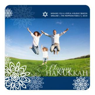 Winter Snowflakes Hanukkah Holiday Photo Greetings 13 Cm X 13 Cm Square Invitation Card