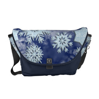 Winter Snowflakes Icy Blue Messenger Bag