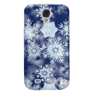 Winter Snowflakes Icy Blue Samsung Galaxy S4 Cases