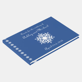 Winter Snowflakes in Blue Guest Book