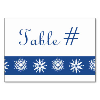 Winter Snowflakes in Blue Table Card