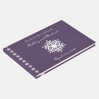 Winter Snowflakes in Purple Guest Book