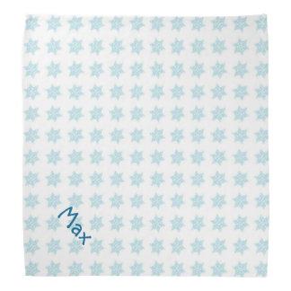 Winter Snowflakes Pattern Blue Holiday Pet Name Head Kerchiefs