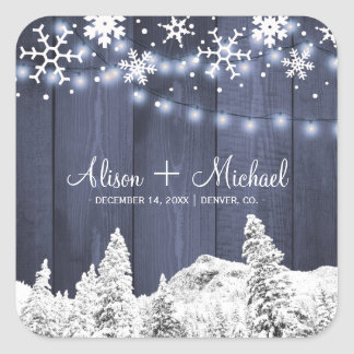 Winter snowflakes rustic barn wood hearts wedding square sticker