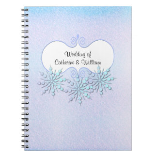 Winter Snowflakes Wedding Guest Sign In Notebook