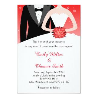 Winter Snowflakes Wedding Invitation Bride Groom