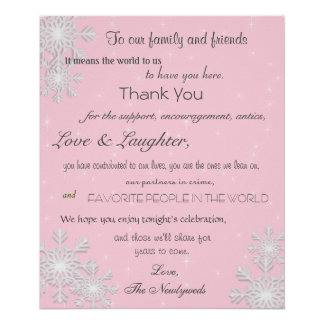 Winter Snowflakes Wedding Poster, Thank You Sign Poster
