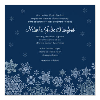 Winter Snowflakes Wedding Square Invitation Card