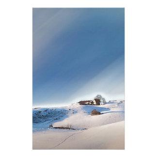 winter snowing landscape stationery