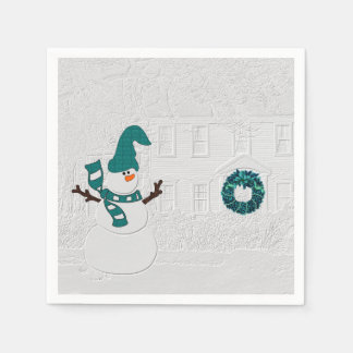 Winter Snowman and House Wreath in Teal Holiday Disposable Napkin