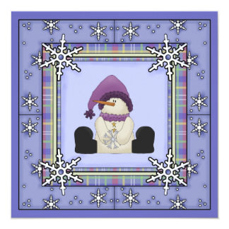 Winter Snowman and Snowflakes Girls Baby Shower Card