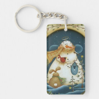 Winter Snowman Angel & Forest Friends Keychain