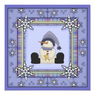 Winter Snowman Baby Boy Baby Shower Invitation