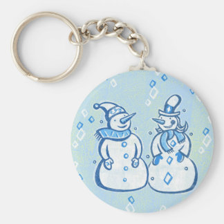 Winter Snowman Couple Key Ring