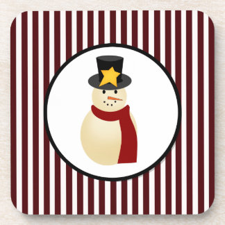Winter Snowman on Red Merry Christmas Design Coaster