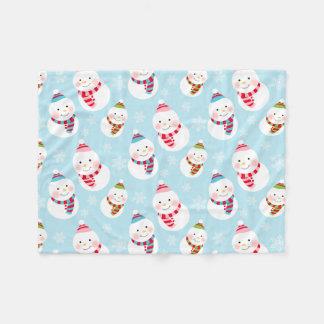 Winter Snowman Pattern   Holiday Fleece Blanket