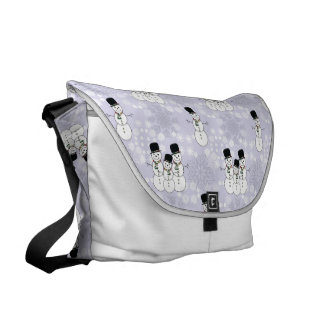 Winter Snowman Pattern Messenger Bag