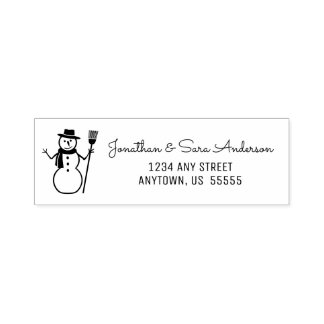 Winter Snowman Return Address Self-inking Stamp