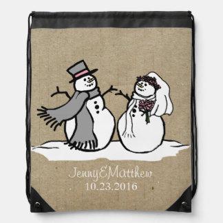 Winter Snowmen Bride & Groom Wedding Drawstring Bag