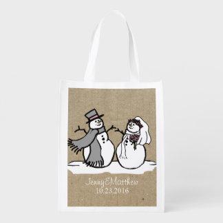 Winter Snowmen Bride & Groom Wedding