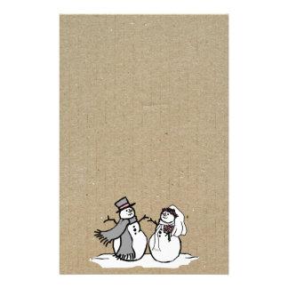 Winter Snowmen Bride & Groom Wedding Stationery Paper