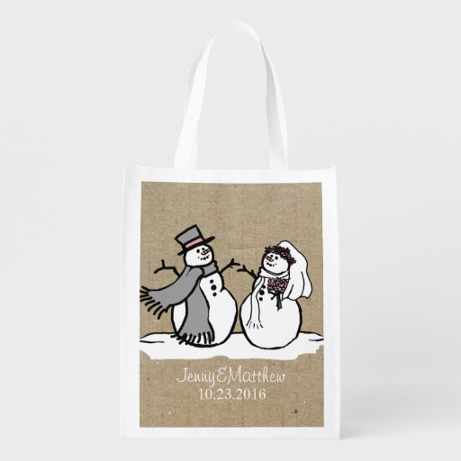 Winter Snowmen Bride & Groom Wedding Market Tote