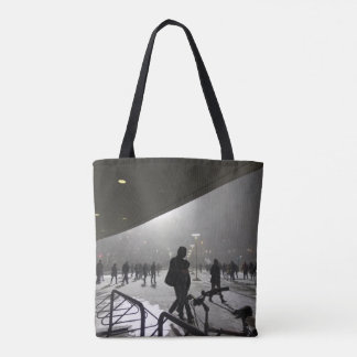 Winter snowstorm at midnight, in Pittsburgh Tote Bag