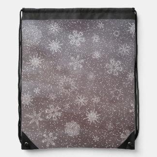 Winter snowy dark day background - 3D render Drawstring Bag