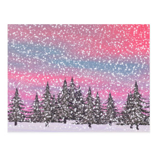 Winter snowy landscape postcard
