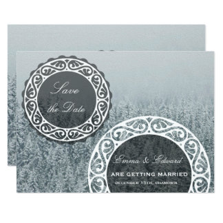Winter snowy Save the date invitation card