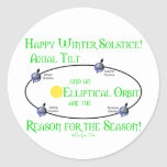 Winter Solstice Axial Tilt Round Stickers