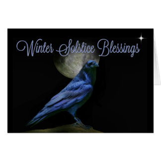 Winter Solstice Blessings Raven and Moon Card