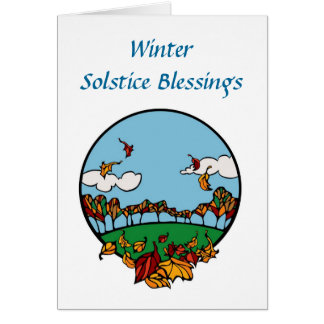 Winter Solstice blessings with clouds and leaves Cards