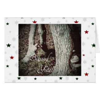 Winter Solstice Golden Oak Trees Card