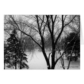 Winter Solstice Greetings, Snowy Trees Greeting Card