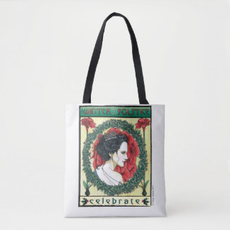 Winter Solstice holiday Christmas tote bag
