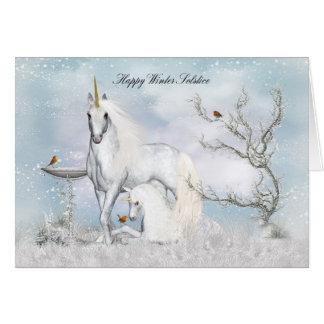 Winter Solstice Midwinter Greeting Card Unicorns