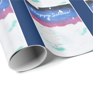 Winter Solstice Snowy Scene Yule Wrapping Paper