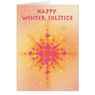 Winter Solstice with warm sun and snowflakes Card