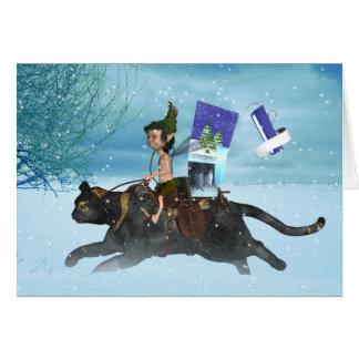 Winter Solstice Woodland Elf On Cat Delivering Sea Card