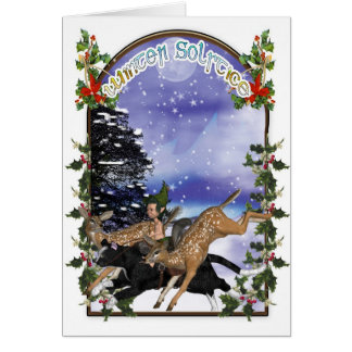 Winter Solstice Woodland Elf On Cat With Fawns Greeting Card