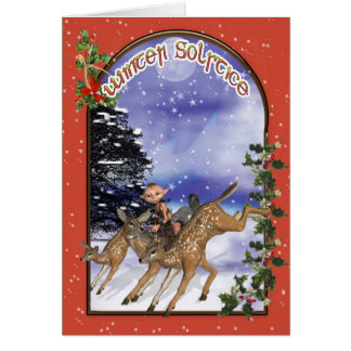 Winter Solstice Woodland Elf Riding A Fawn Greeting Card