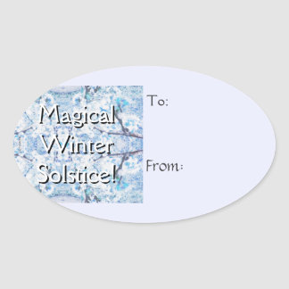 Winter Solstice Yule Snow Christmas Gift Tag Oval Sticker
