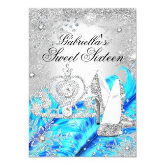 Winter Sparkle Snowflake Blue Sweet 16 Invite