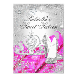 Winter Sparkle Snowflake Pink Sweet 16 Invite