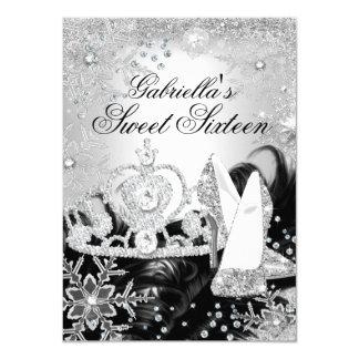 """Winter Sparkle Snowflake Silver Sweet 16 Invite 4.5"""" X 6.25"""" Invitation Card"""