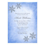 Winter Sparkle Snowflakes Blue Bridal Shower Personalised Invitations