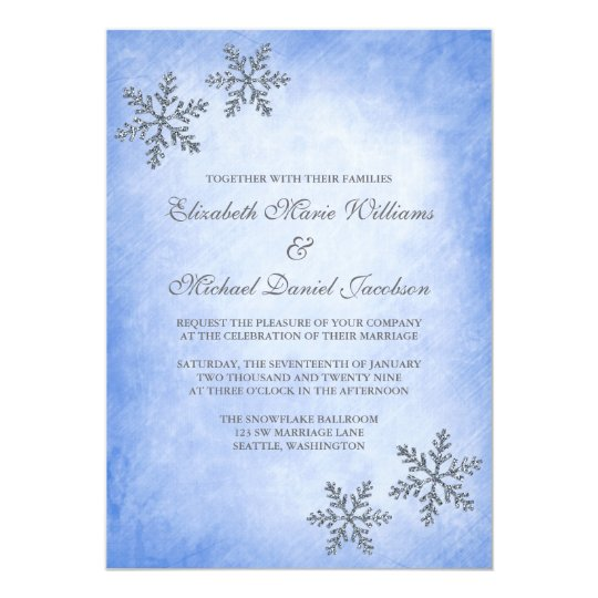 Winter Sparkle Snowflakes Blue Wedding Invitations
