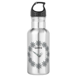 Winter Sparkling Snowflakes Clock With Icicles 532 Ml Water Bottle